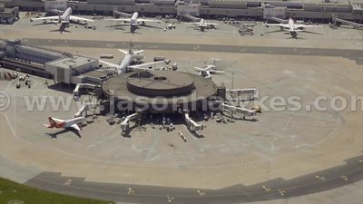 South Terminal, Gatwick Airport, aerial footage,