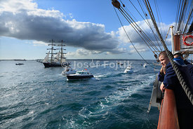 Brigg Mercedes from board of four masted barque Sedov on start of Funchal 500 Race, 2008, near Falmouth, Great Britain