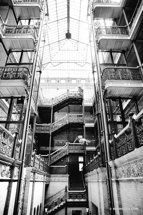BRADBURY BUILDING LOS ANGELES CALIFOIRNIA BLACK AND WHITE