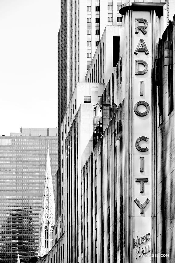 RADIO CITY MUSIC HALL MANHATTAN NEW YORK CITY BLACK AND WHITE VERTICAL