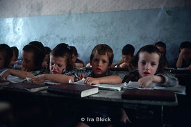 Children in a classroom in an orthodox school in Israel.