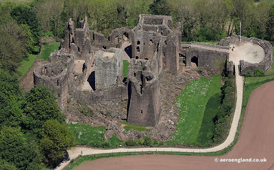 aerial photograph of Goodrich Castle Ross on Wye Herefordshire Great Britain UK