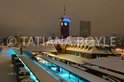 Union train station under snow