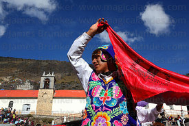 Contradanza dancer outside Sanctuary during Qoyllur Riti festival, Peru