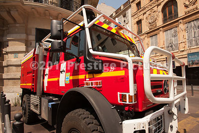 Fire Engines standing in a Marseilles Street