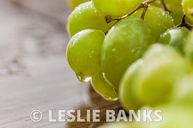 Closeup of green grapes