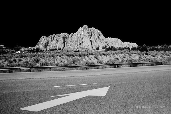MOUNTAIN WITH CROSSES NORTHERN NEW MEXICO BLACK AND WHITE
