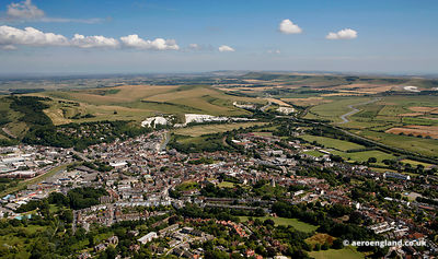 aerial photograph of Lewes East Sussex   England UK