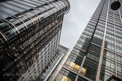 Tall glass and metal buildings, Canary Wharf, London