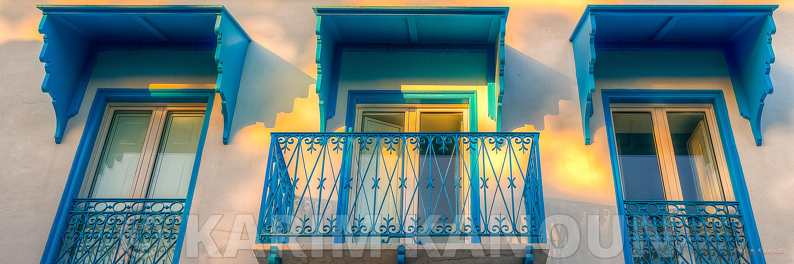 Panorama - Tradional tunisian windows architecture Sidi Bou Said Tunisia