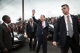 United Nations Secretary-General Ban Ki-Moon (C) waves as he arrives to visit a local Malagasy Non Governamental Organization on May 11, 2016 on the outskirts of Antananrivo, Madagascar.