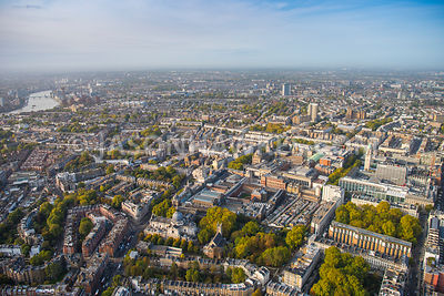 Aerial view of London, South Kensington and Brompton with Victoria and Albert Museum and Science Museum.