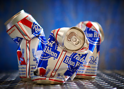 Pabst Blue Ribbon beer cans smashed