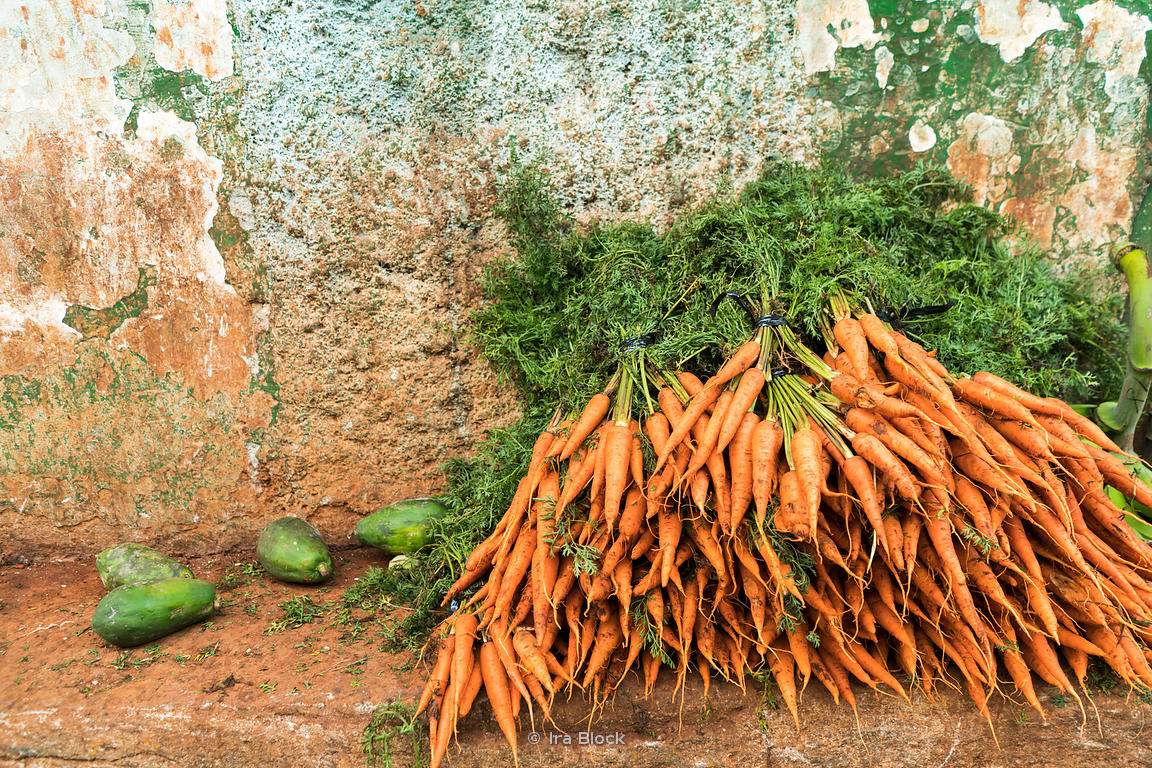 Carrots for sale at a local market in Havana, Cuba.