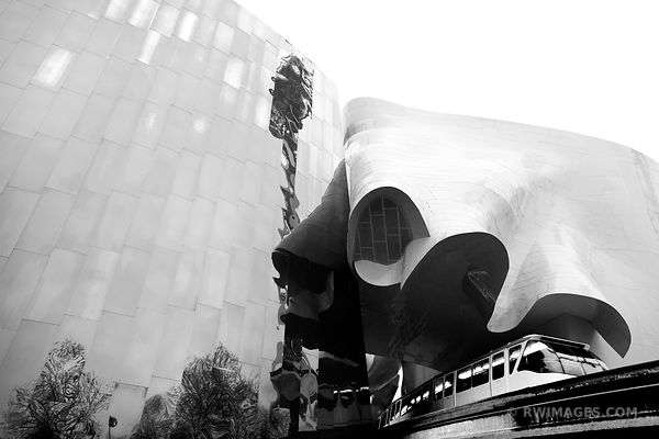 SEATTLE MUSEUM OF POP CULTURE EXPERIENCE MUSIC PROJECT MUSEUM SEATTLE MONORAIL TRAIN BLACK AND WHITE