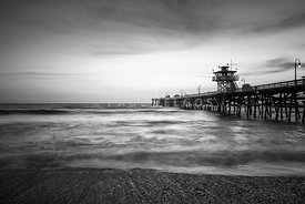 San Clemente Pier Black and White Photography