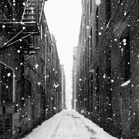 PIONEER SQUARE ALLEY IN WINTER