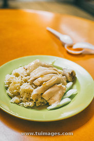 Singapore hainanese chicken rice.