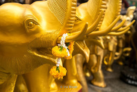 Elephant sculptures at Erawan Shrine, a Hindu shrine in Bangkok, Thailand.