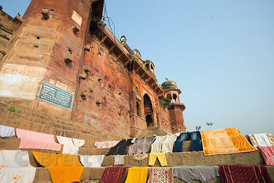 Laundry drying on the ghats, Varanasi, India
