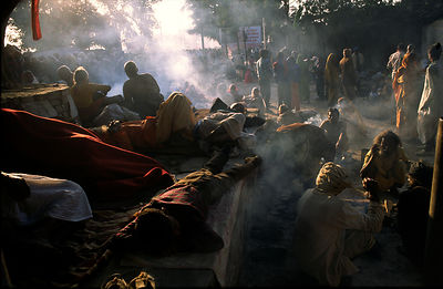 India - Allahbad - A pilgrims camp at dawn
