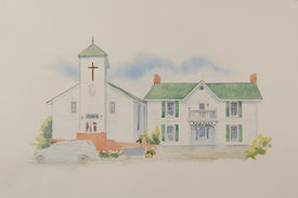 Charles Wesley United Methodist Church_Job Clark House, original watercolor illustration, 17 x 21 framed