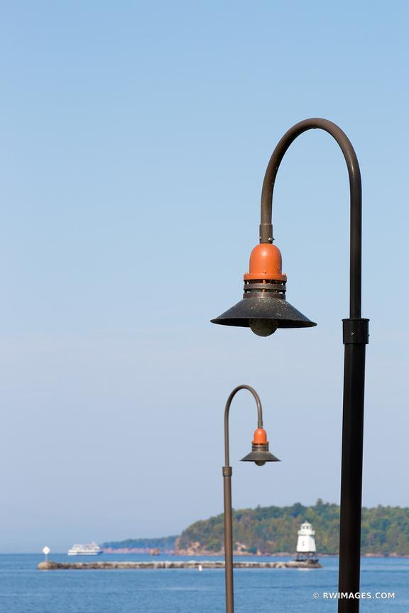 BURLINGTON VERMONT STREET LAMPS BREAKWATER LIGHTHOUSE BURLINGTON VERMONT HARBOR COLOR VERTICAL