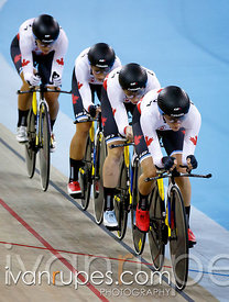 Women's Team Pursuit 1st Round, Track Day 1, Toronto 2015 Pan Am Games, Milton Pan Am/Parapan Am Velodrome, Milton, On; July 16, 2015