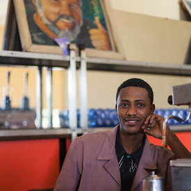 The barista  in the Ras Makonnen coffee house in Addis Ababa, Ethiopia