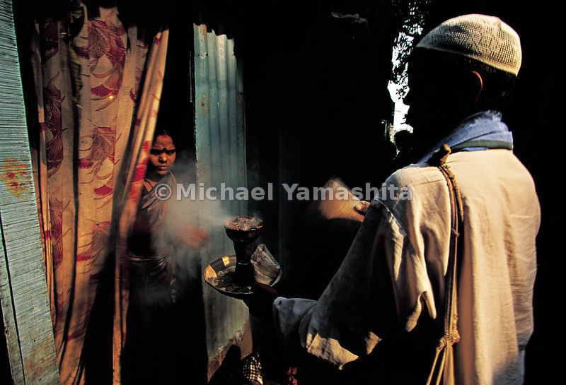 Incense burning is a common practice in India.