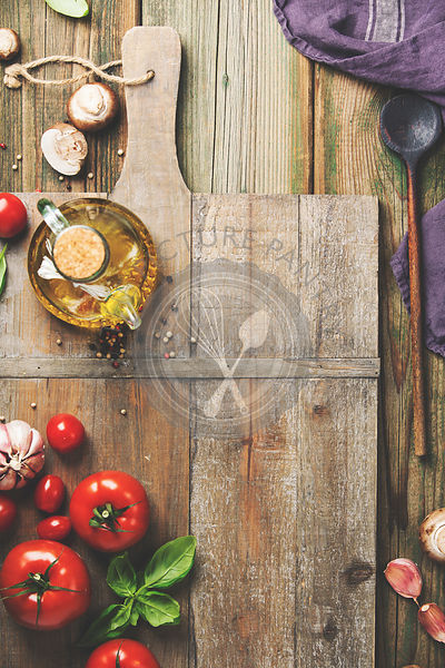 Cooking background with fresh italian ingredients