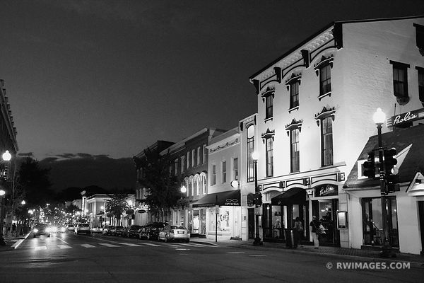 GEORGETOWN NIGHT WASHINGTON DC BLACK AND WHITE