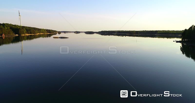 Gulf of Finland, Aerial View Above a Calm Sea, in the Finnish Archipelago,, on a Sunny Summer Evening Dawn, in Inkoo, Uusimaa, Suomi