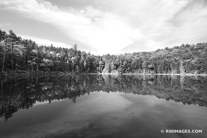 FOREST POND IN FALL WHITE MOUNTAINS NEW HAMPSHIRE BLACK AND WHITE LANDSCAPE