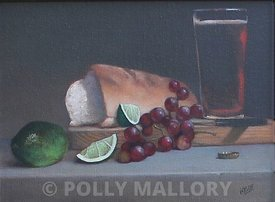 Limes_and_Grapes_original_oil_on_canvas_9_x_12_framed_(Retail_500_Sale_425)_