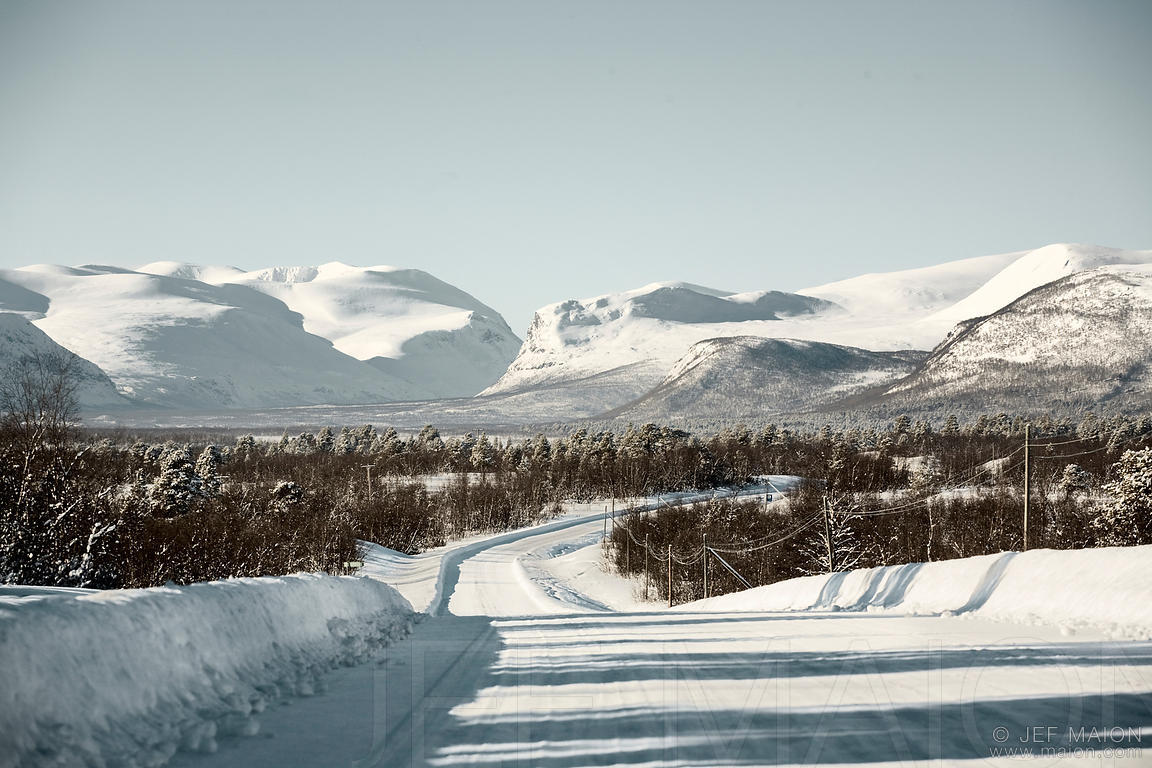 Ice road and mountains
