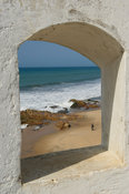 View of the beach from Cape Coast Castle, old gold and slave trading centre, Cape Coast, Ghana