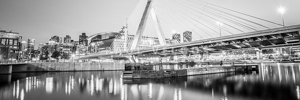 Boston Zakim Bridge Black and White Panorama Photo