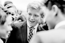 Young Nordic boys in suits talking 2 (black/white picture)
