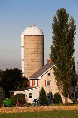 Farm house and silo in Amish country, Lancaster, Pennsylvania