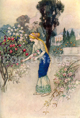 Emily in the Garden by Warwick Goble