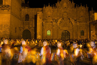 Nighttime parade during Cusco Week, Cusco, Peru