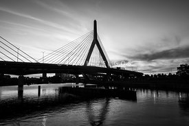 Boston Zakim Bridge Black and White Picture
