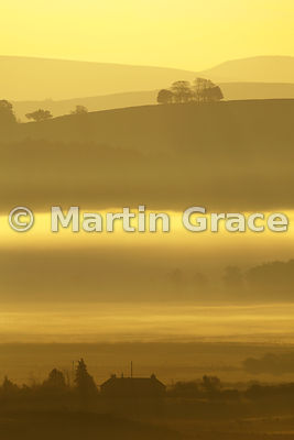 Golden dawn on a misty October day, Lyth Valley, Cumbria, England