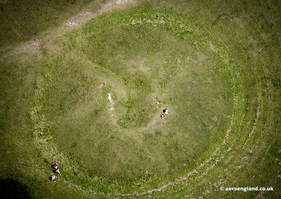aerial photograph of Bronze Age Bowl Barrow on Windover Hill East Sussex  England UK