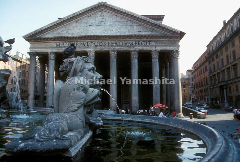 The fountain and facade of the Pantheon. Rome, Italy.