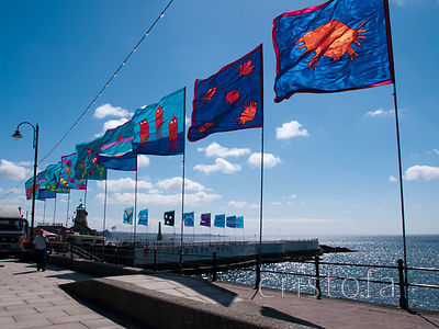 Flags on Penzance seafront