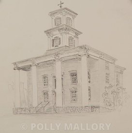 Washington County Courthouse (hard cover art), original sketch illustration, unframed