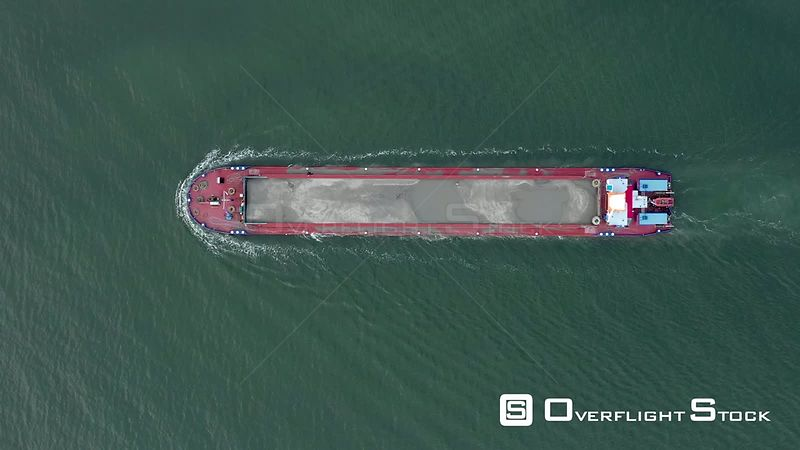 Top Down View of Commercial Freighter Ship Underway