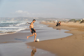 Scenes on the Saidia beach in Berkan on the Moroccan-Algerian border in Morocco.